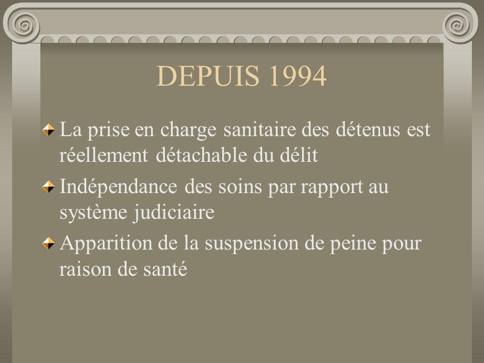 DEPUIS 1994 La prise en charge sanitaire des détenus est réellement détachable du délit. Indépendance des soins par rapport au système judiciaire.