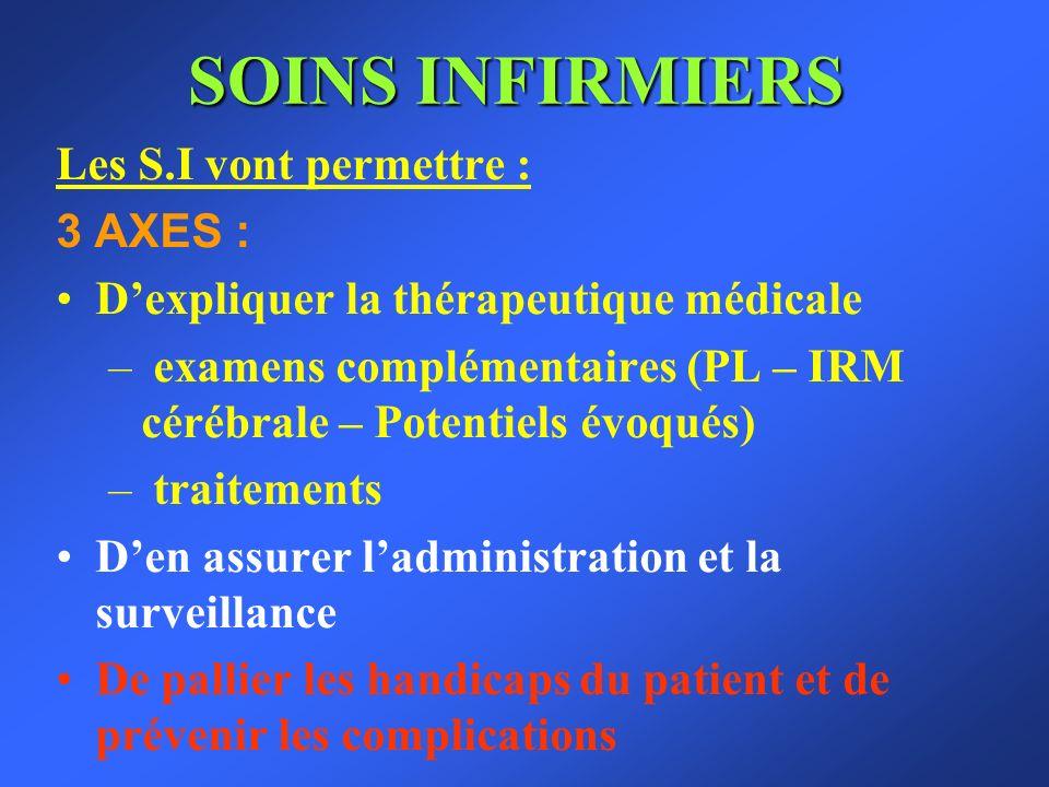 SOINS INFIRMIERS Les S.I vont permettre : 3 AXES :