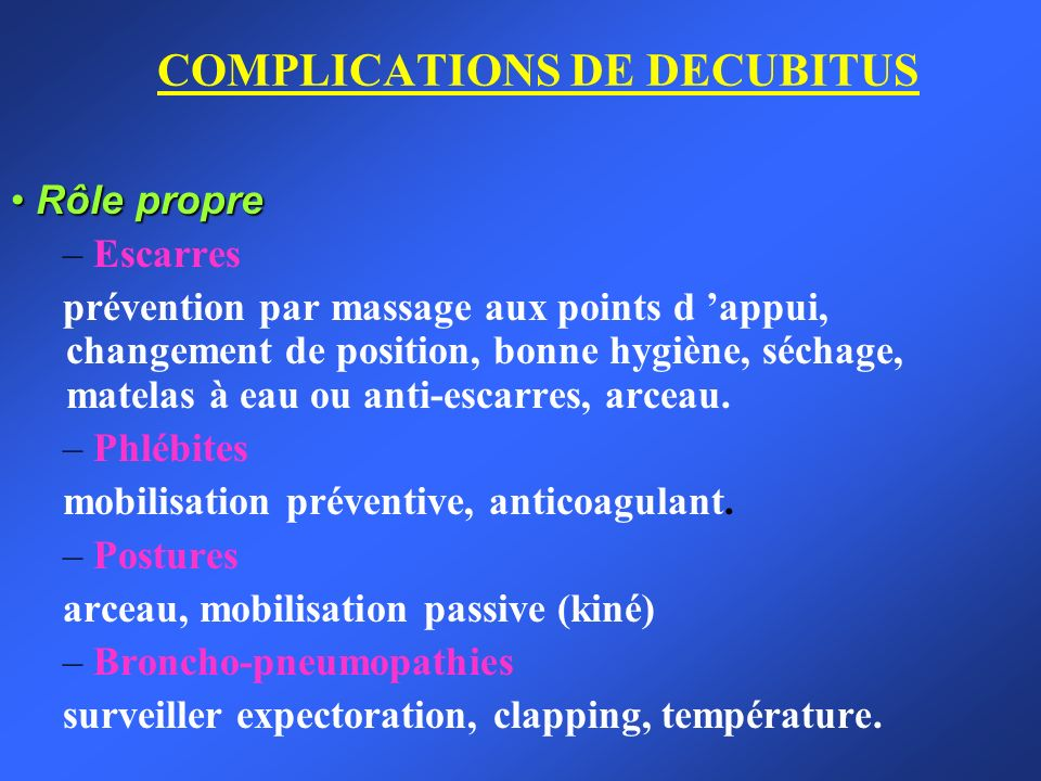 COMPLICATIONS DE DECUBITUS