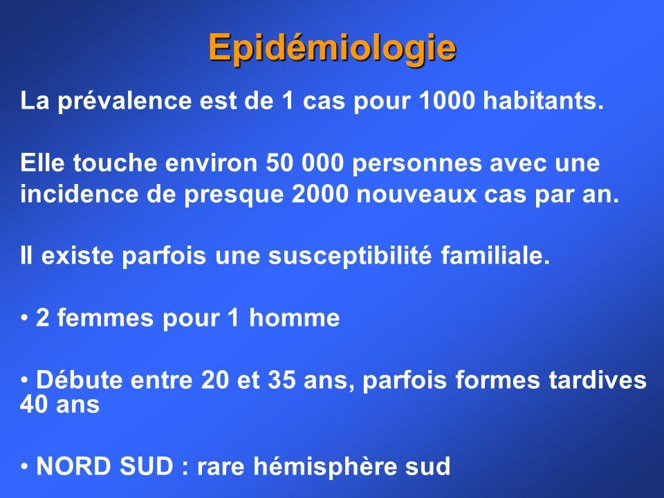 Epidémiologie La prévalence est de 1 cas pour 1000 habitants.