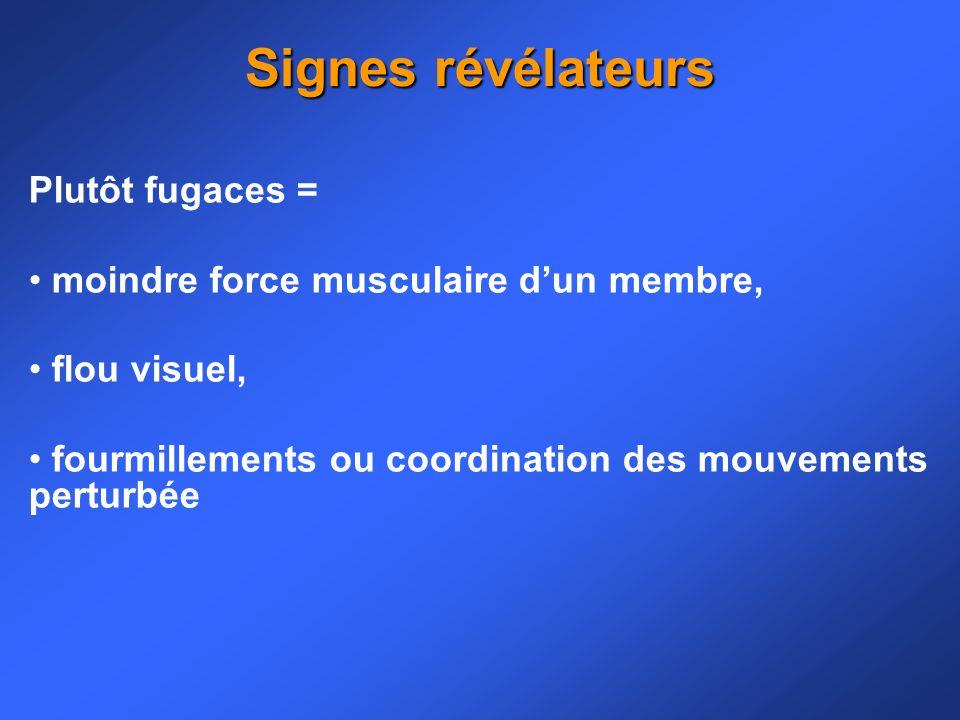 Signes révélateurs Plutôt fugaces =