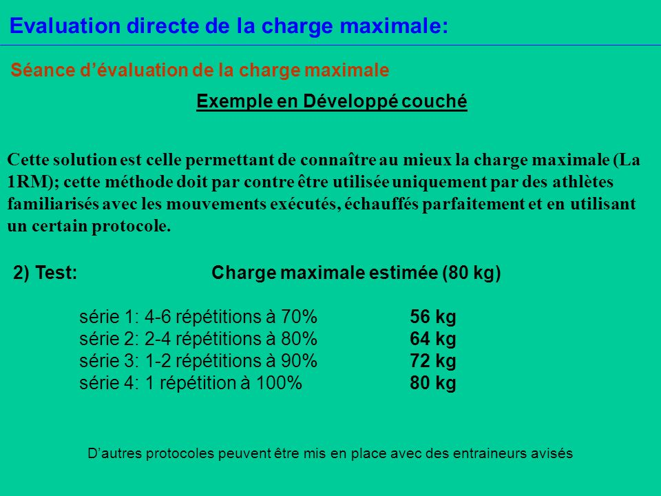 Evaluation directe de la charge maximale: