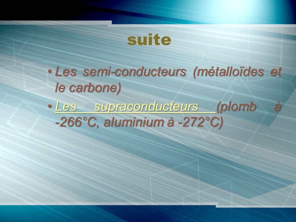 suite Les semi-conducteurs (métalloïdes et le carbone)