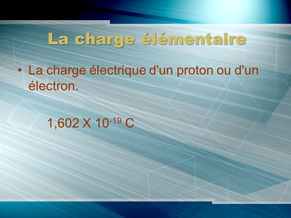 La charge élémentaire La charge électrique d un proton ou d un électron. 1,602 X 10-19 C