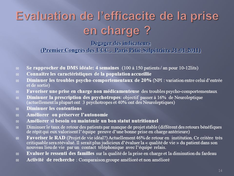 Evaluation de l'efficacite de la prise en charge
