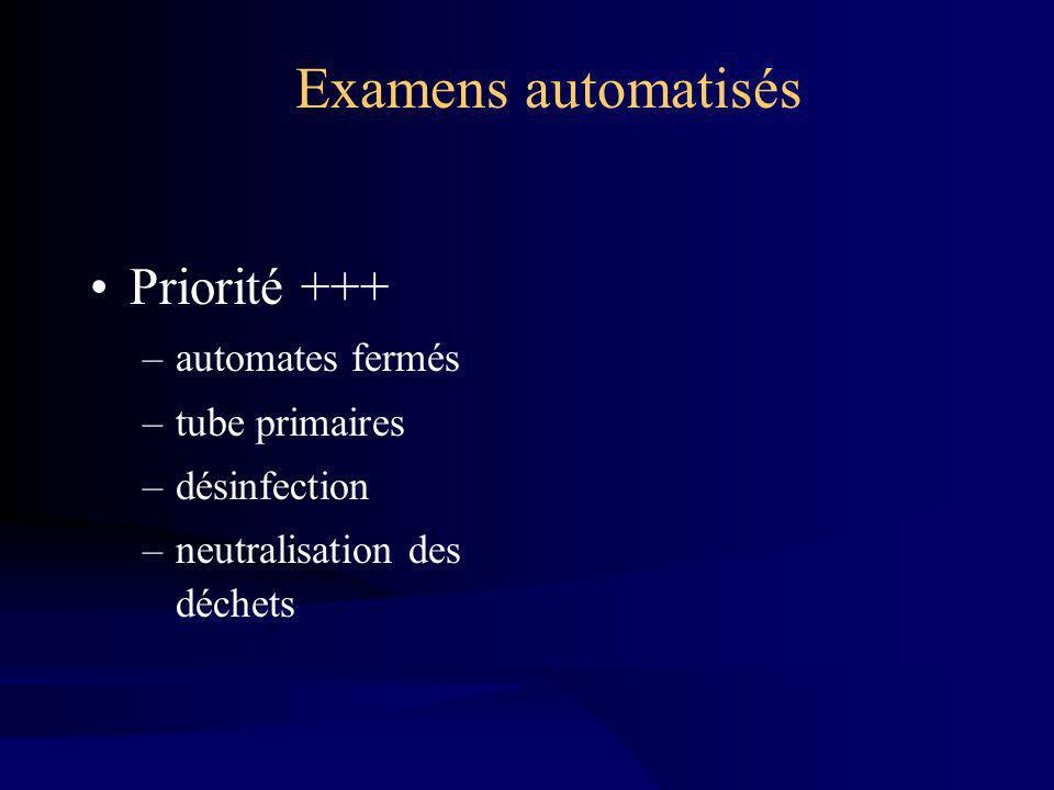 Examens automatisés Priorité +++ automates fermés tube primaires