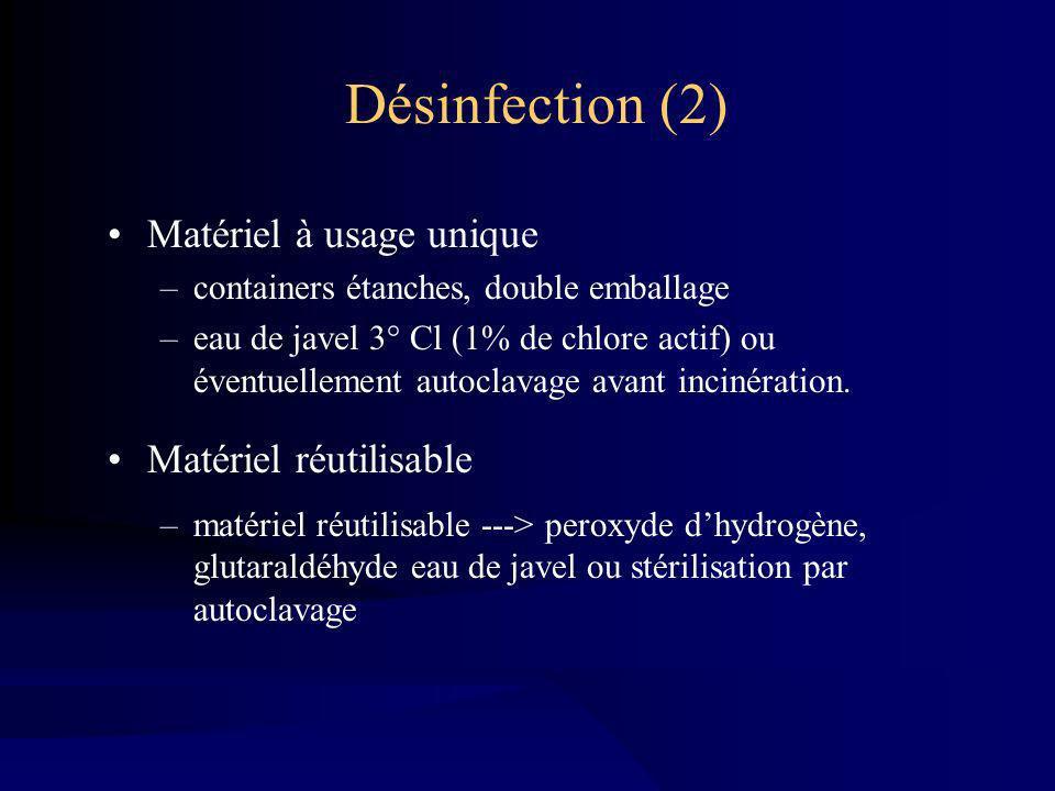 Désinfection (2) Matériel à usage unique Matériel réutilisable
