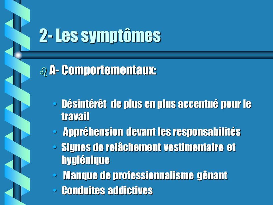 2- Les symptômes A- Comportementaux: