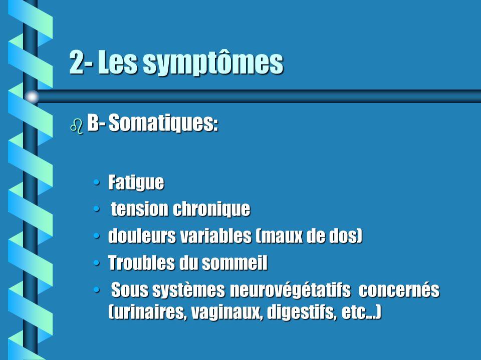 2- Les symptômes B- Somatiques: Fatigue tension chronique