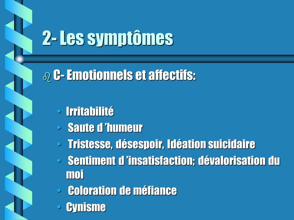 2- Les symptômes C- Emotionnels et affectifs: Irritabilité