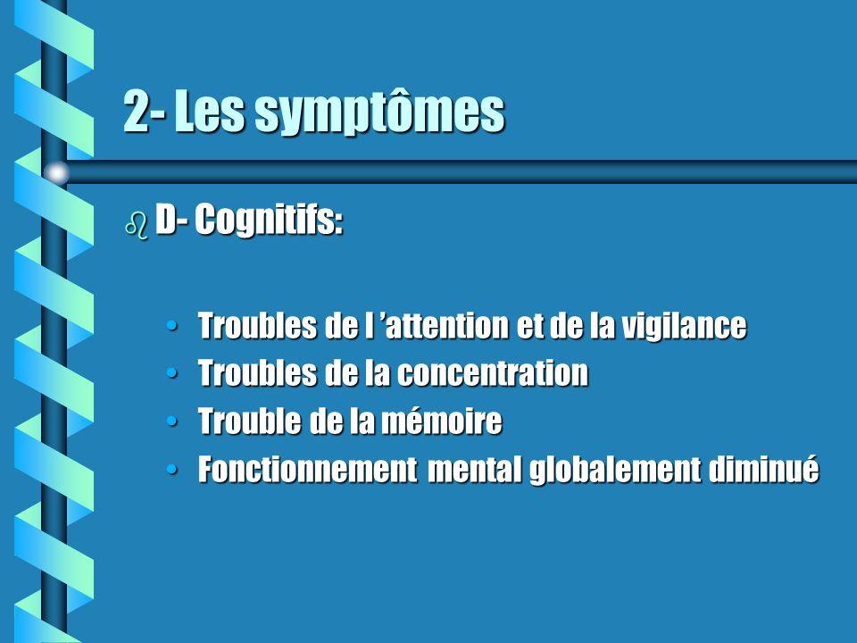2- Les symptômes D- Cognitifs: