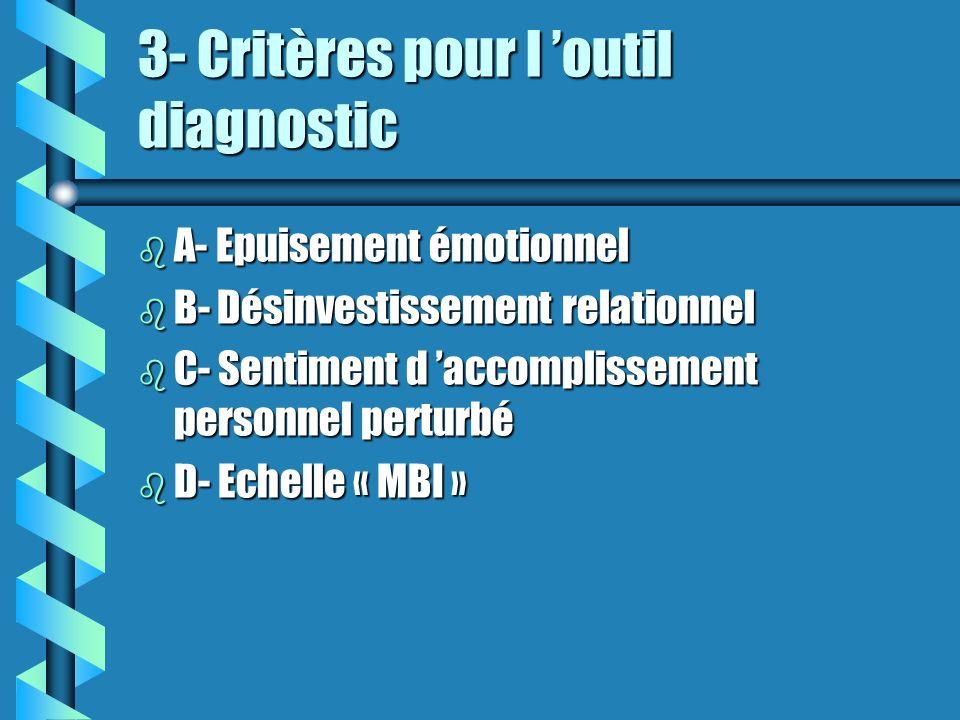 3- Critères pour l 'outil diagnostic