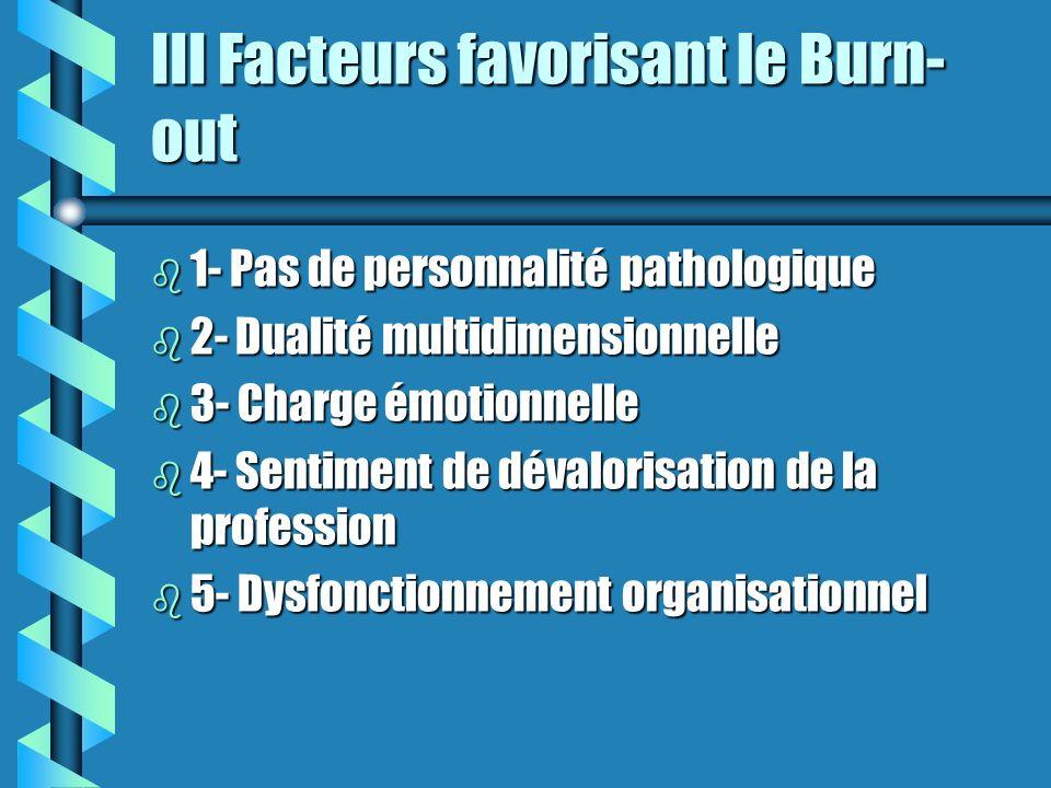 III Facteurs favorisant le Burn-out
