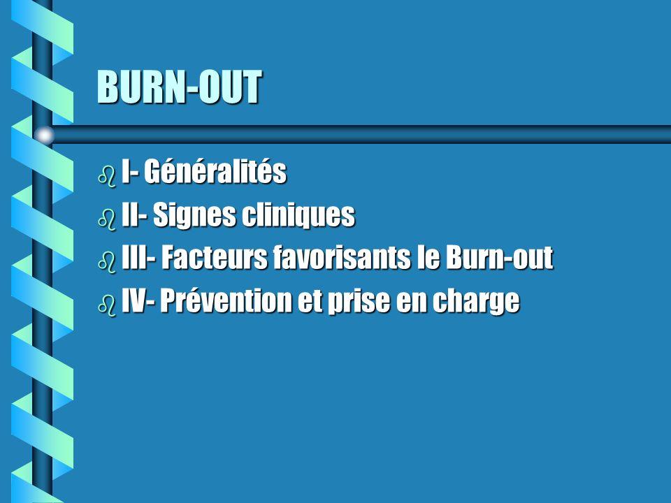 BURN-OUT I- Généralités II- Signes cliniques