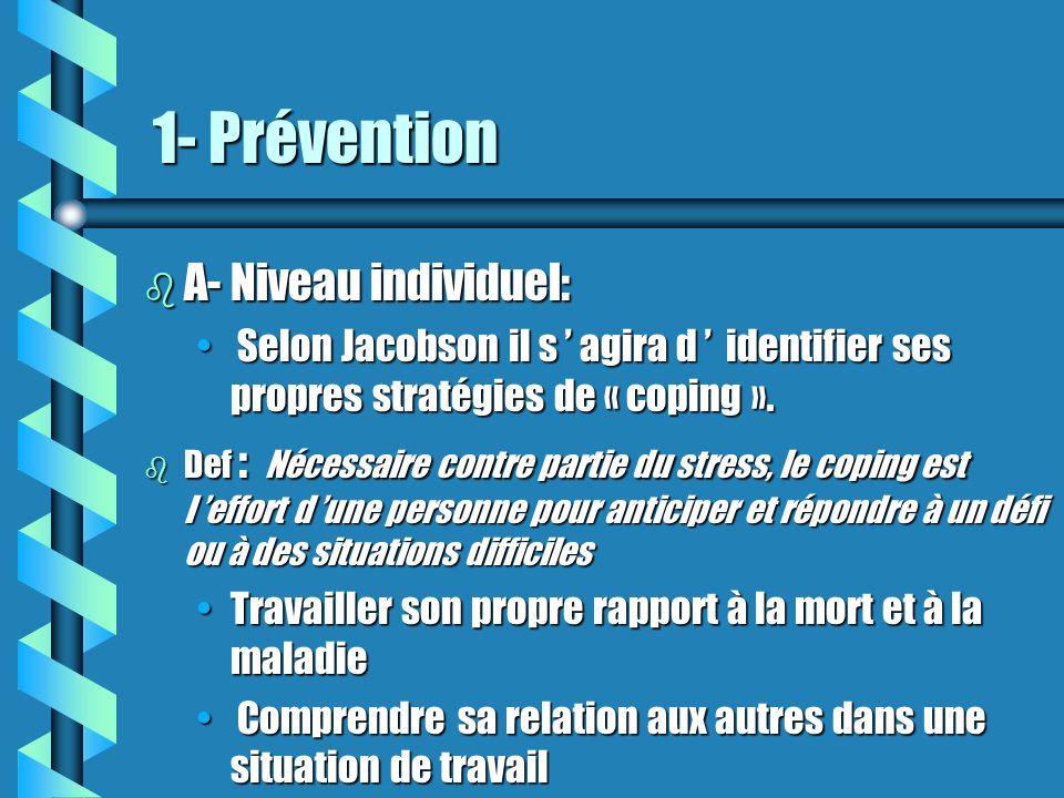 1- Prévention A- Niveau individuel: