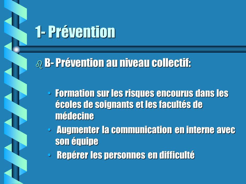 1- Prévention B- Prévention au niveau collectif: