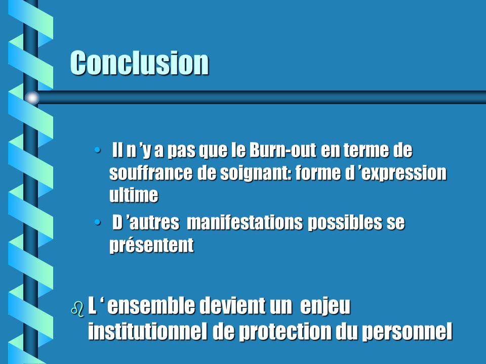 Conclusion Il n 'y a pas que le Burn-out en terme de souffrance de soignant: forme d 'expression ultime.