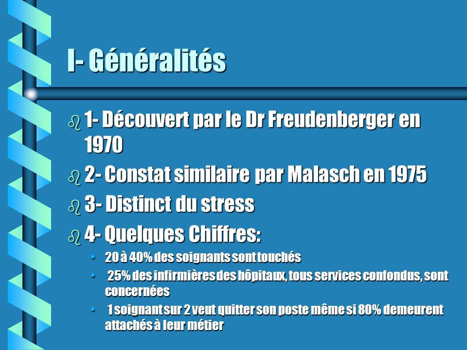 I- Généralités 1- Découvert par le Dr Freudenberger en 1970