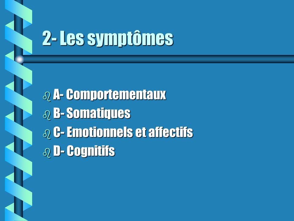 2- Les symptômes A- Comportementaux B- Somatiques