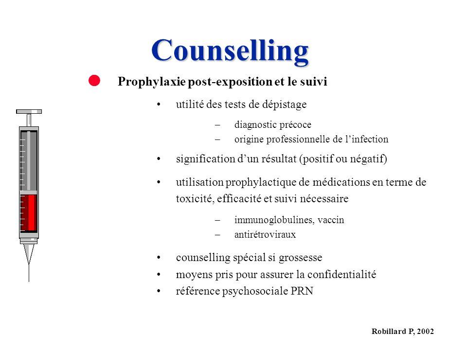 Counselling Prophylaxie post-exposition et le suivi