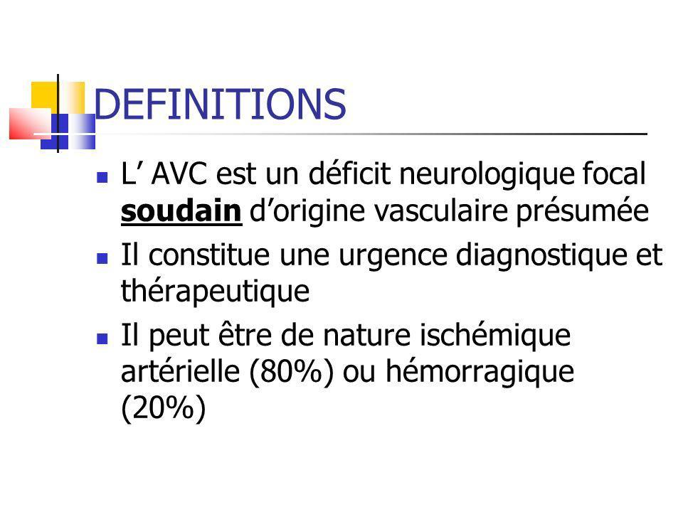 DEFINITIONS L' AVC est un déficit neurologique focal soudain d'origine vasculaire présumée. Il constitue une urgence diagnostique et thérapeutique.