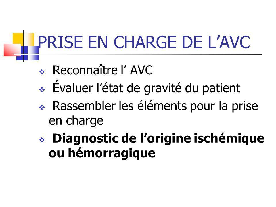 PRISE EN CHARGE DE L'AVC