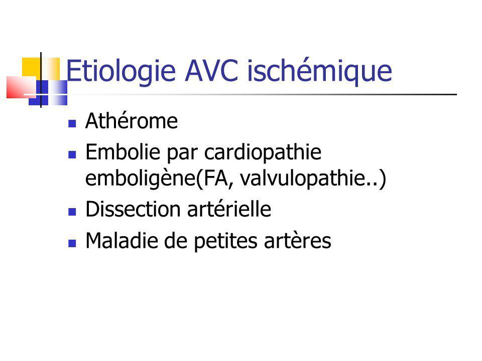 Etiologie AVC ischémique