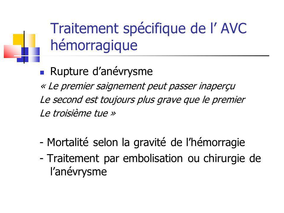 Traitement spécifique de l' AVC hémorragique
