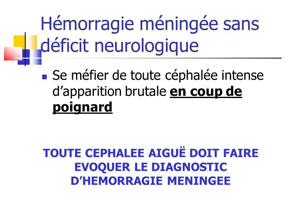 Hémorragie méningée sans déficit neurologique