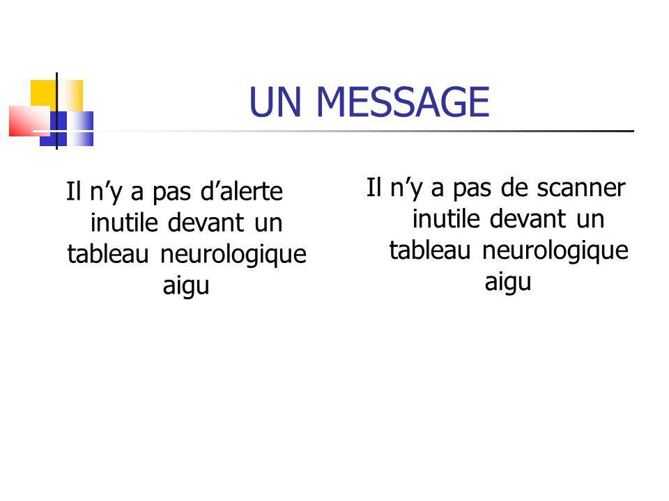 UN MESSAGE Il n'y a pas d'alerte inutile devant un tableau neurologique aigu.