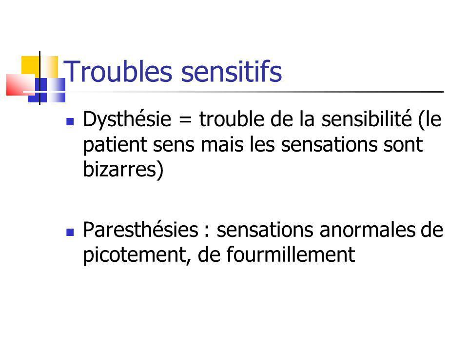 Troubles sensitifs Dysthésie = trouble de la sensibilité (le patient sens mais les sensations sont bizarres)