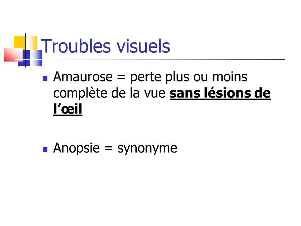 Troubles visuels Amaurose = perte plus ou moins complète de la vue sans lésions de l'œil.