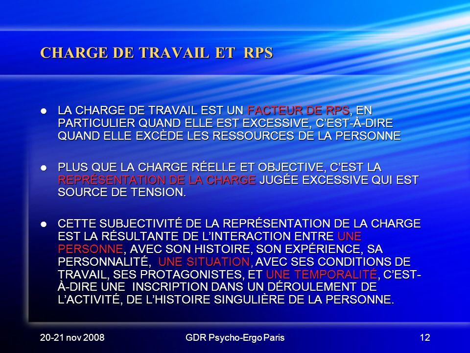 CHARGE DE TRAVAIL ET RPS