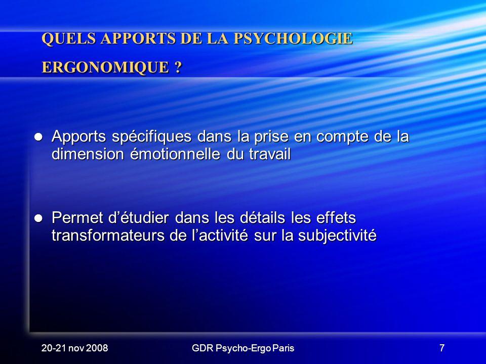 QUELS APPORTS DE LA PSYCHOLOGIE ERGONOMIQUE