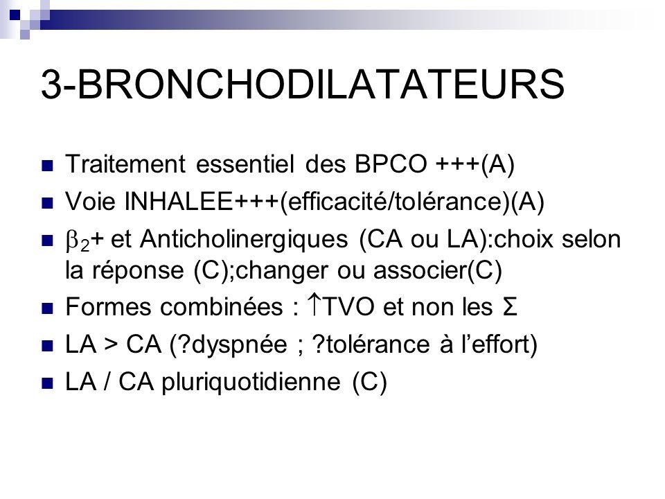 3-BRONCHODILATATEURS Traitement essentiel des BPCO +++(A)