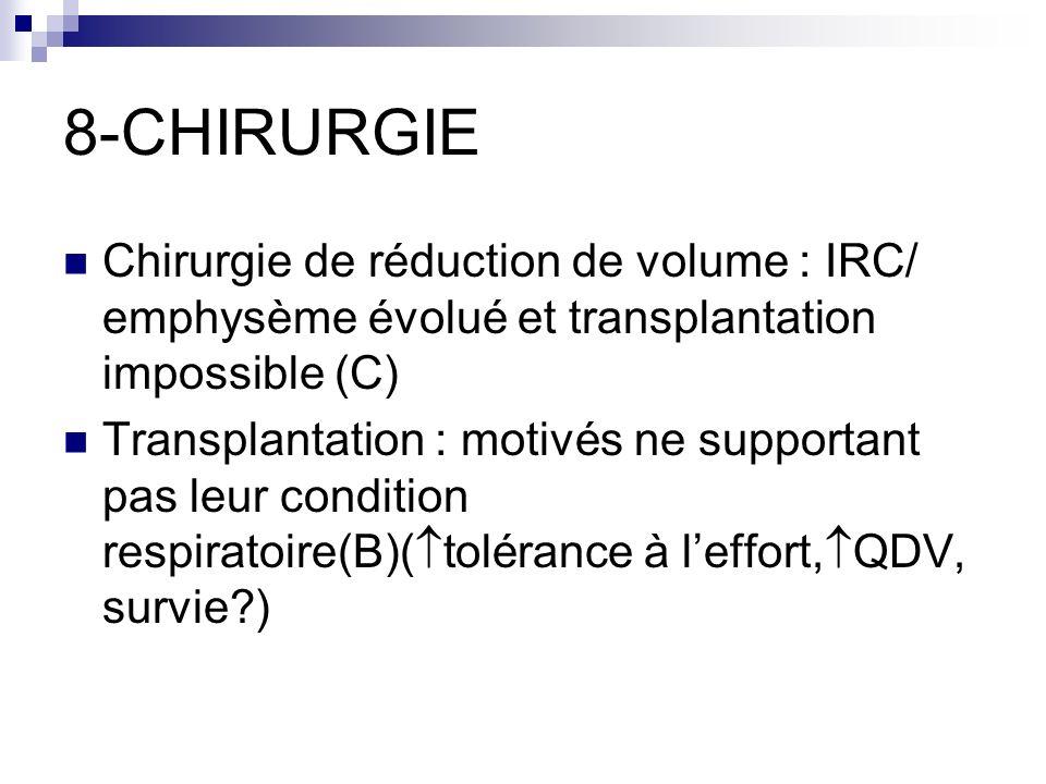 8-CHIRURGIE Chirurgie de réduction de volume : IRC/ emphysème évolué et transplantation impossible (C)