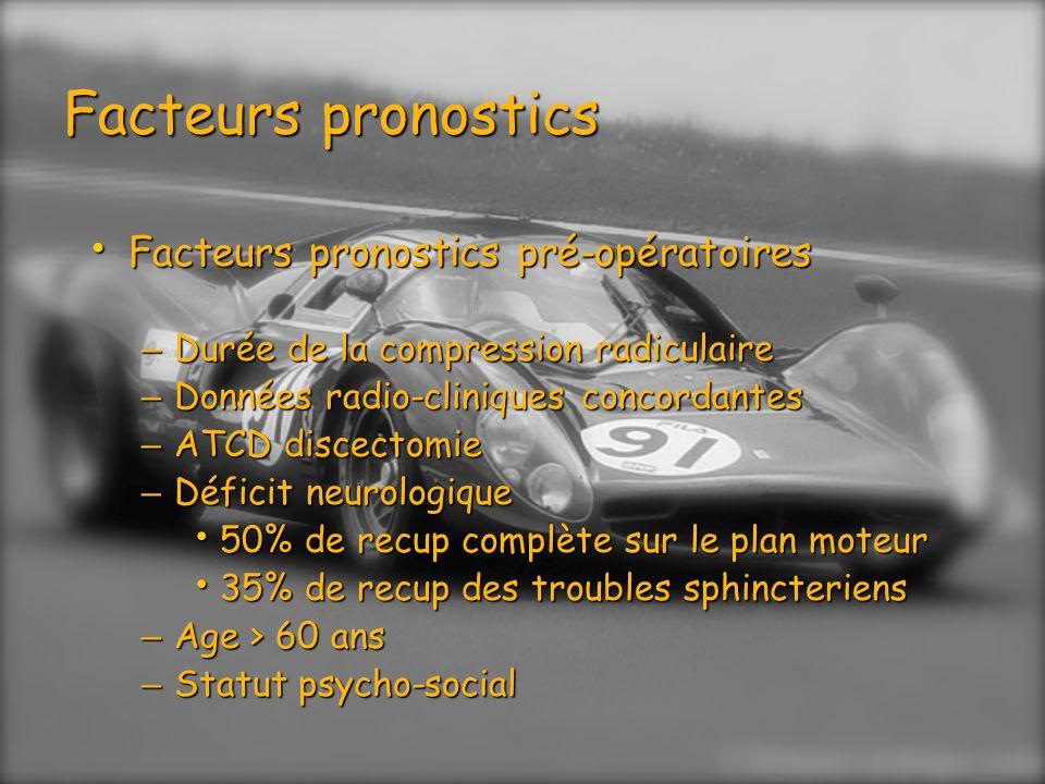 Facteurs pronostics Facteurs pronostics pré-opératoires