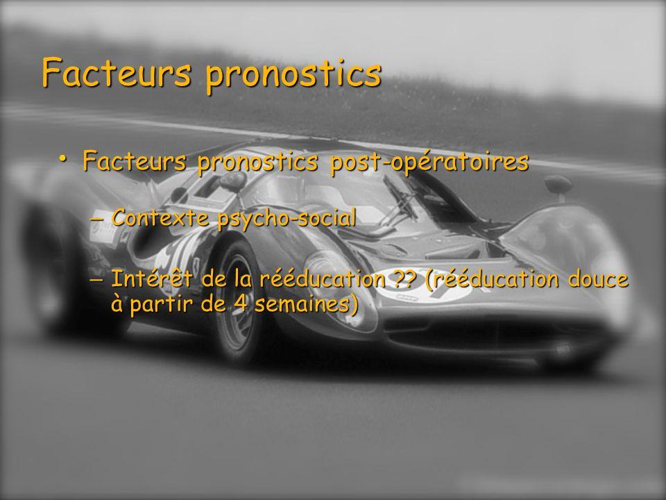 Facteurs pronostics Facteurs pronostics post-opératoires