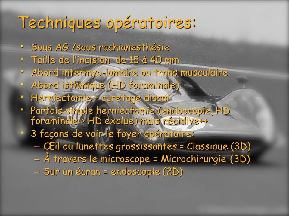 Techniques opératoires: