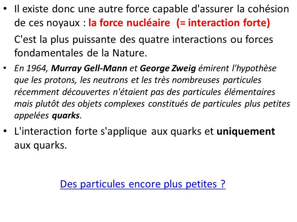 L interaction forte s applique aux quarks et uniquement aux quarks.