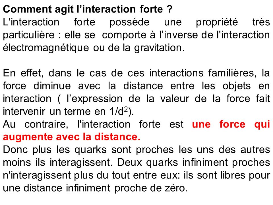 Comment agit l'interaction forte