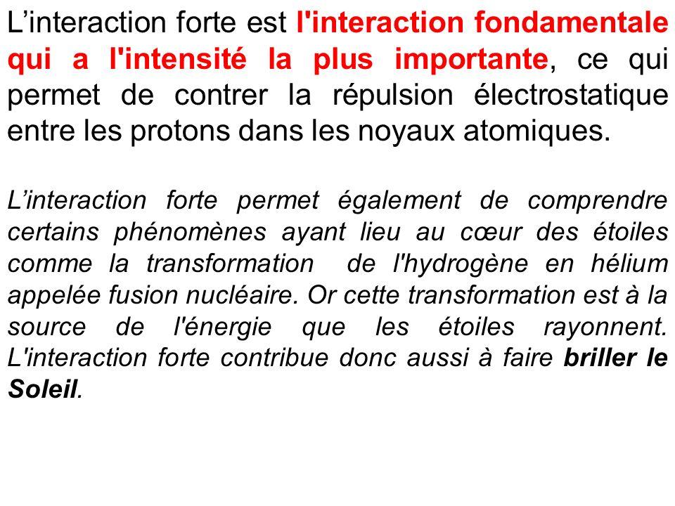 L'interaction forte est l interaction fondamentale qui a l intensité la plus importante, ce qui permet de contrer la répulsion électrostatique entre les protons dans les noyaux atomiques.