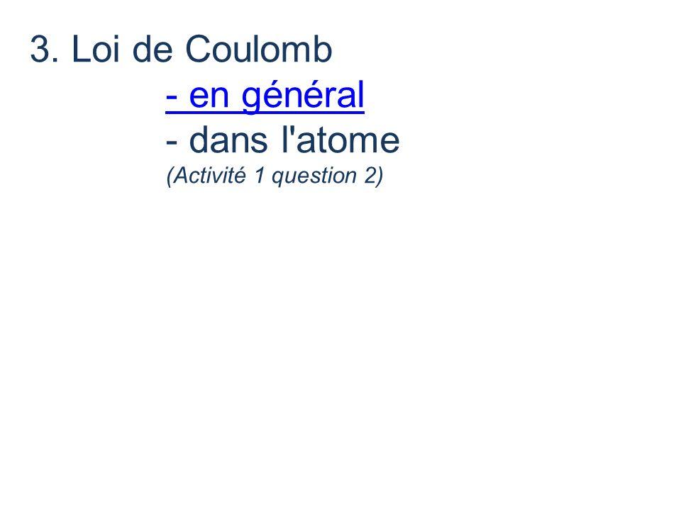 3. Loi de Coulomb - en général - dans l atome
