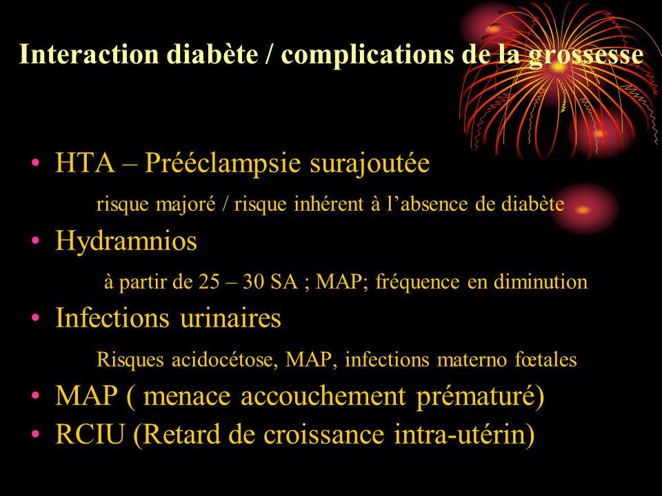 Interaction diabète / complications de la grossesse