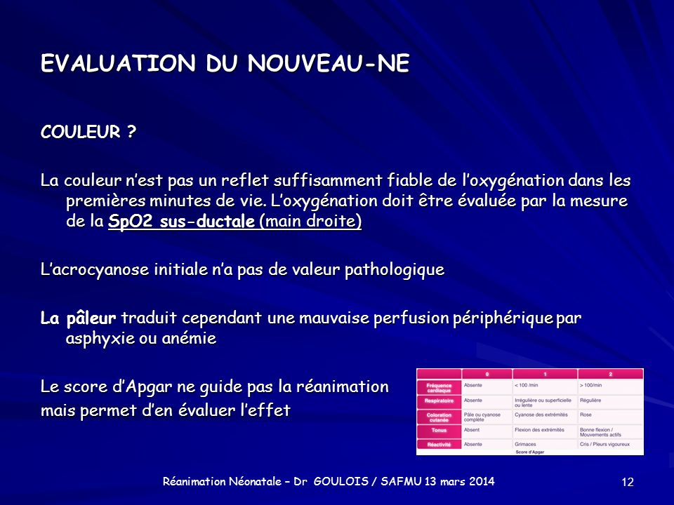EVALUATION DU NOUVEAU-NE