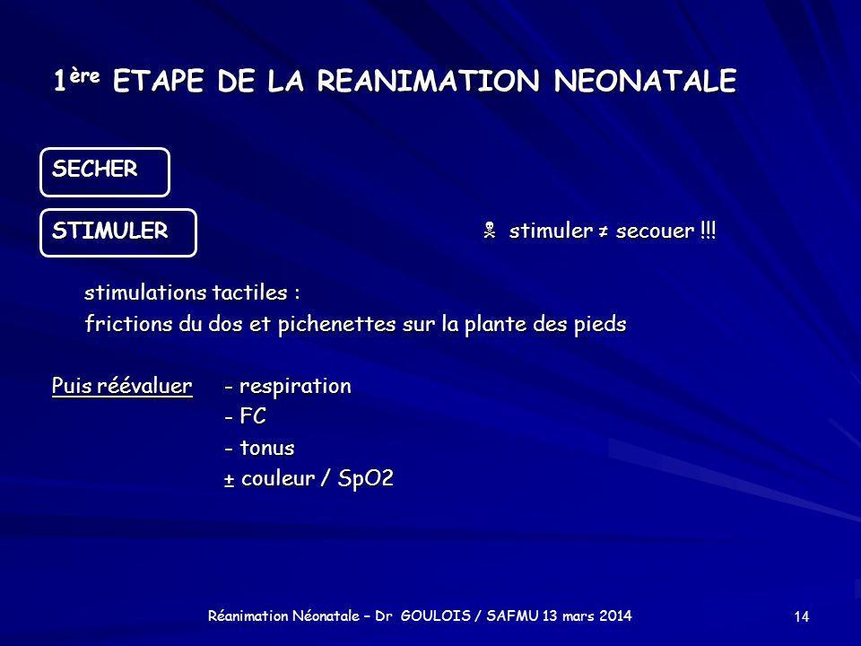 1ère ETAPE DE LA REANIMATION NEONATALE