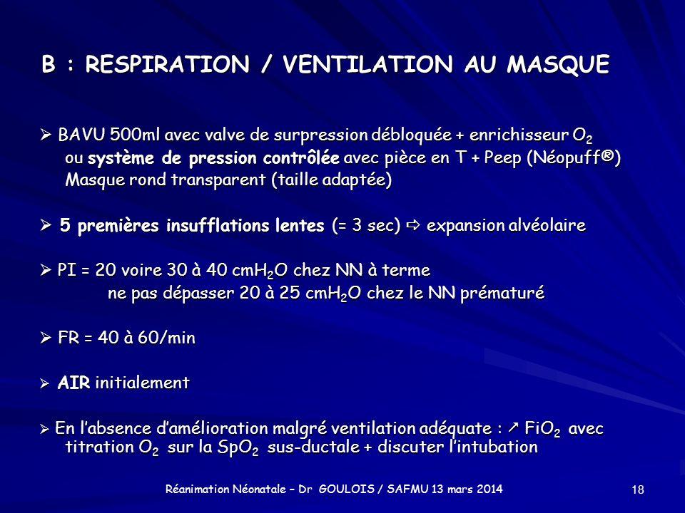 B : RESPIRATION / VENTILATION AU MASQUE