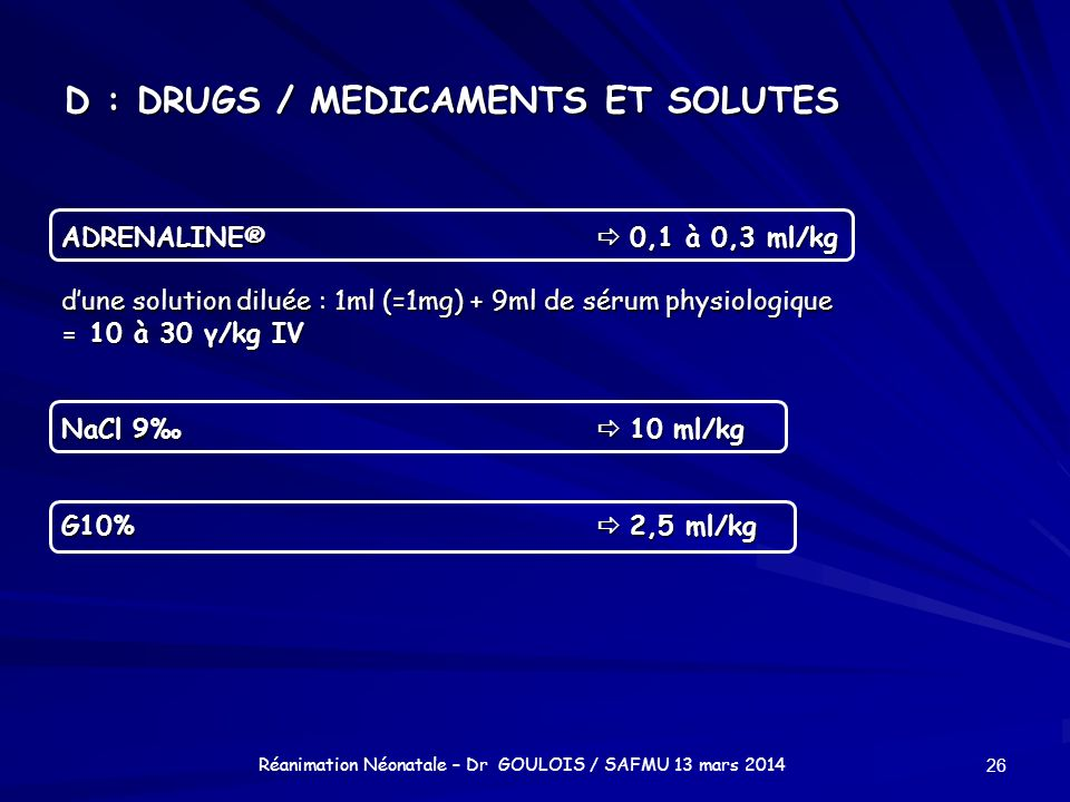 D : DRUGS / MEDICAMENTS ET SOLUTES