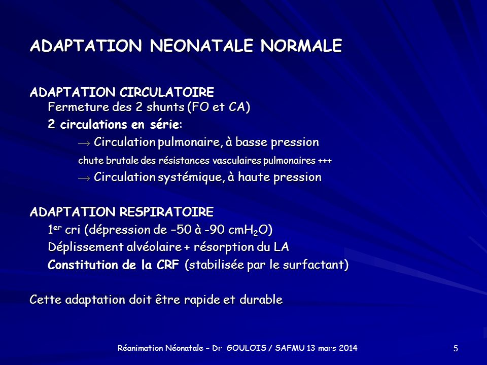 ADAPTATION NEONATALE NORMALE