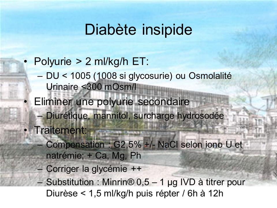Diabète insipide Polyurie > 2 ml/kg/h ET: